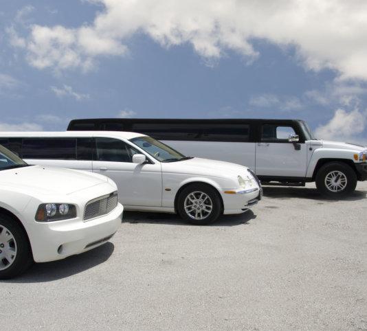row of three limousines